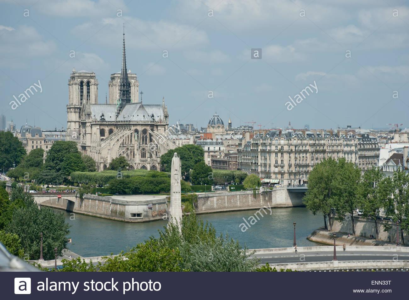 Paris, Seine, Ile de la CitÈ, Notre Dame - Stock Image