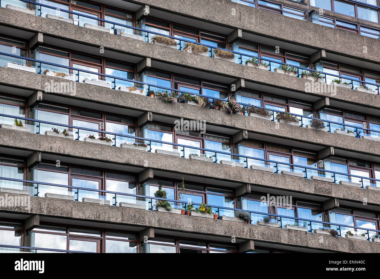 Detail of the John Trundle Court in the Barbican Estate, London, England Stock Photo
