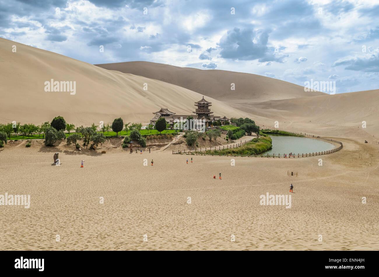 Crescent Lake, Dunhuang, Gansu Province, China - Stock Image