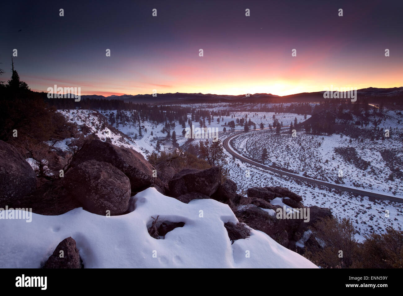 Glenshire sunset at the Union Pacific railroad, Truckee - Stock Image