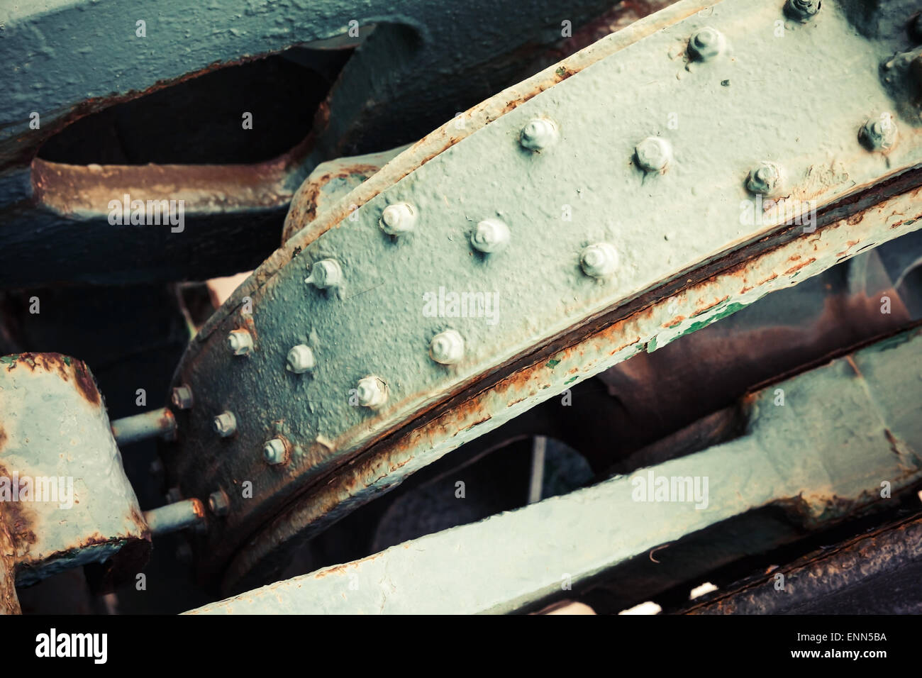 Abstract old industrial mechanism details assembly, selective focus and shallow DOF, vintage toned photo with old Stock Photo