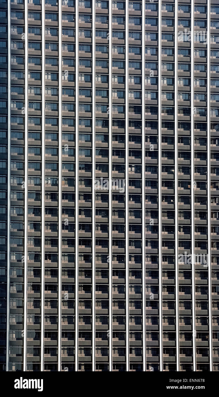 A eye-catching uniform pattern is created by the office windows of a 40-story commercial skyscraper in downtown - Stock Image
