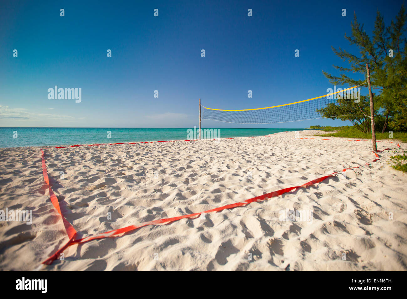 A Beach Volleyball Court Set Up Beside The Ocean On Playa La Jaula Stock Photo Alamy
