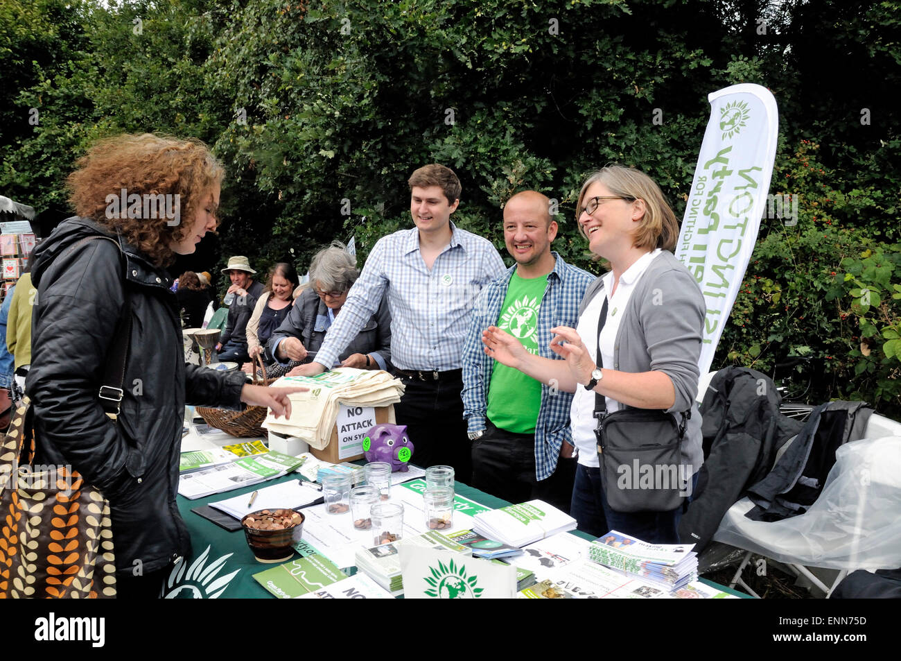 Green Party activists on stall, Gillespie Park Festival, Highbury, London Borough of Islington Britain UK - Stock Image