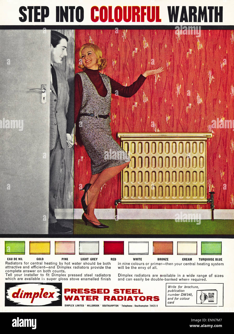 Vintage advert in 1960s magazine dated 1964 for DIMPLEX pressed steel water radiators of Southampton England UK - Stock Image