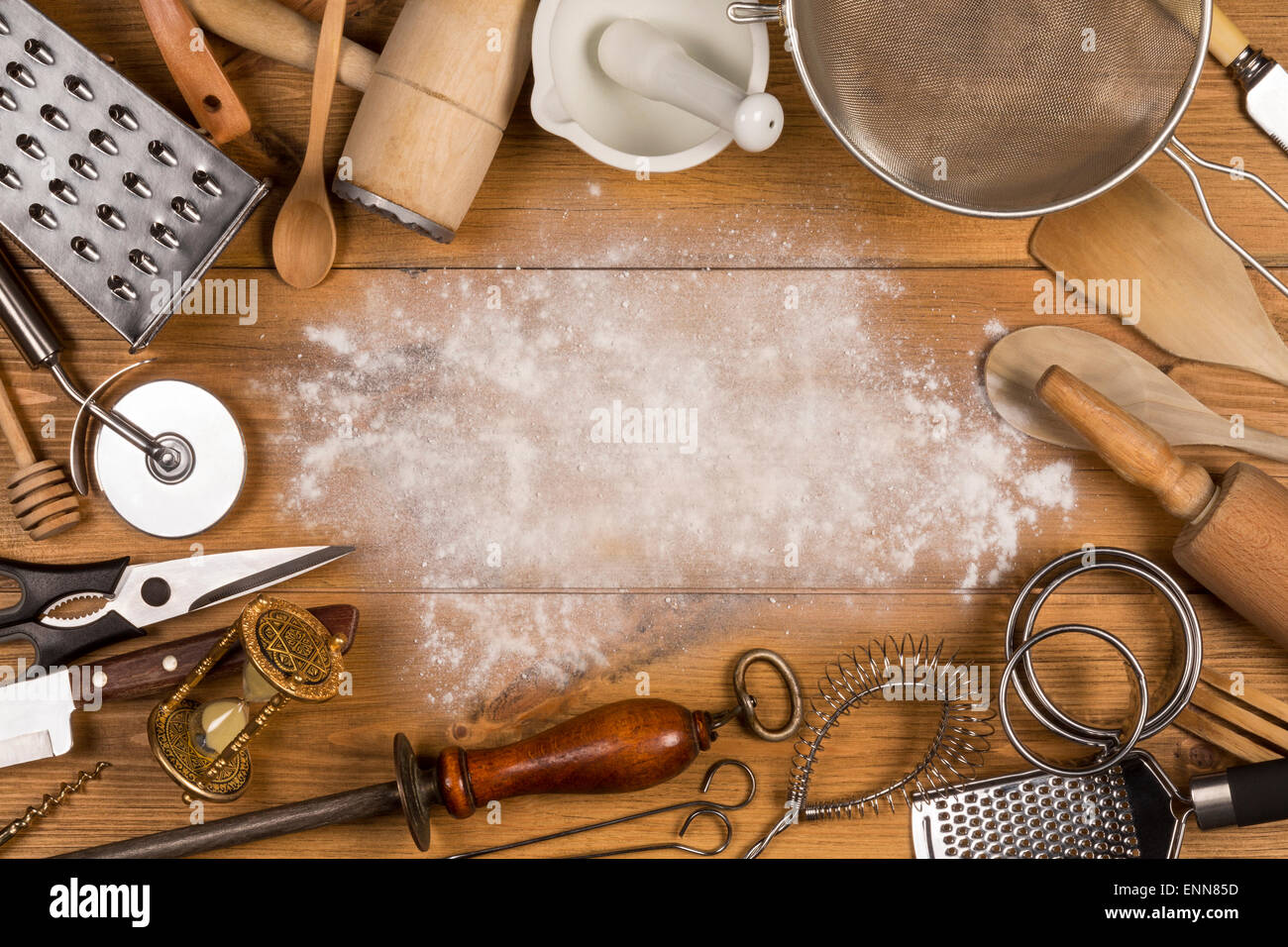 A selection of Kitchen Utensils with Space for Text Stock Photo