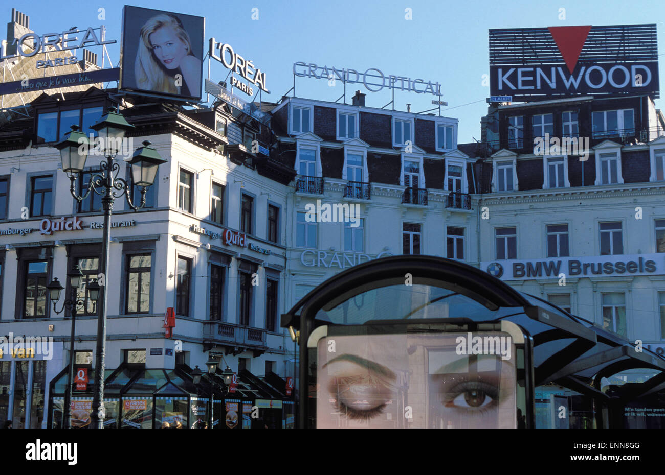 BEL, Belgium, Brussels, billboards at the Place Louise.  BEL, Belgien, Bruessel, Werbung am Place  Louise. - Stock Image