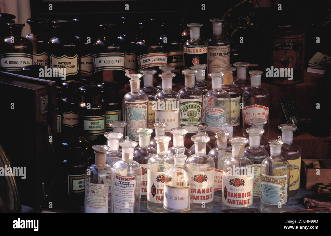 BEL, Belgium, Brussels, drugstore bottles at the antique market on the Place du Grand Sablon.  BEL, Belgien, Bruessel, - Stock Image