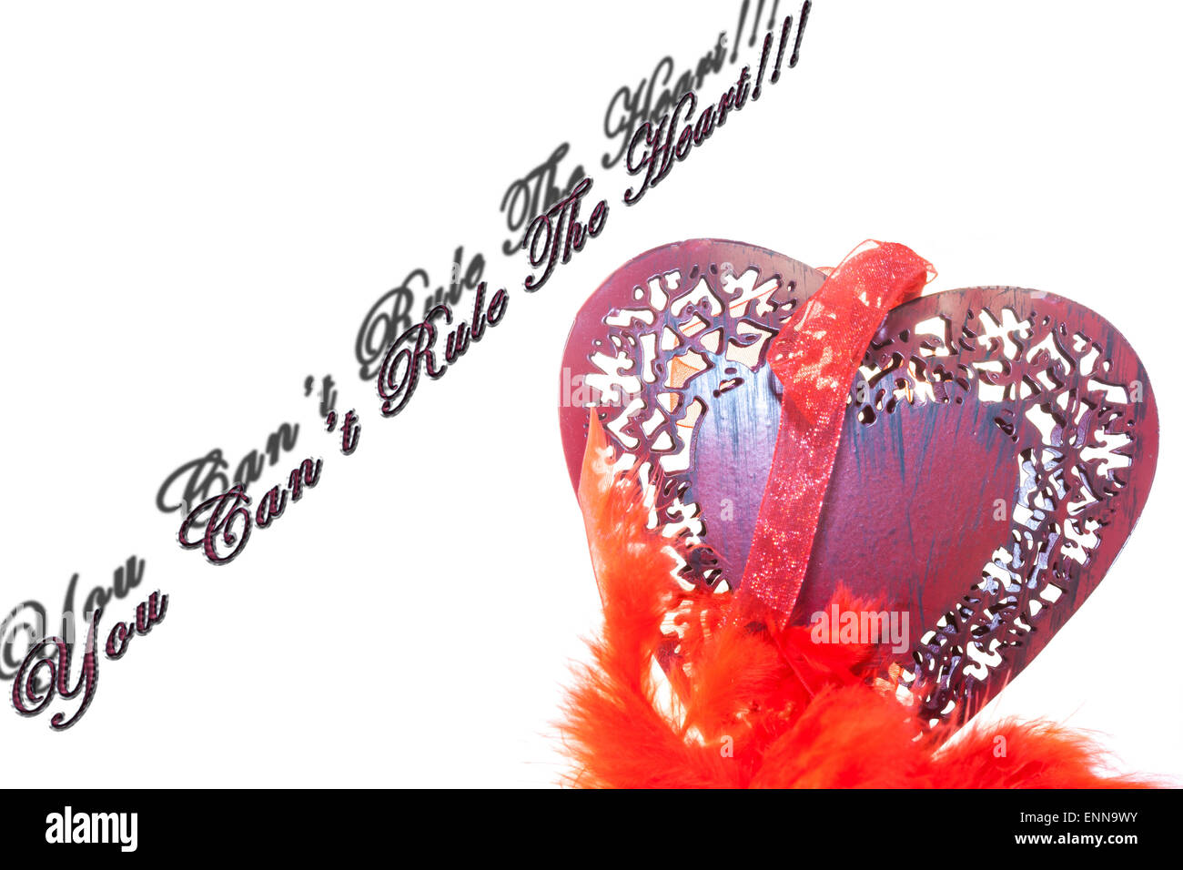 Wooden red hearth. You Can't Rule The heart!!! - Stock Image