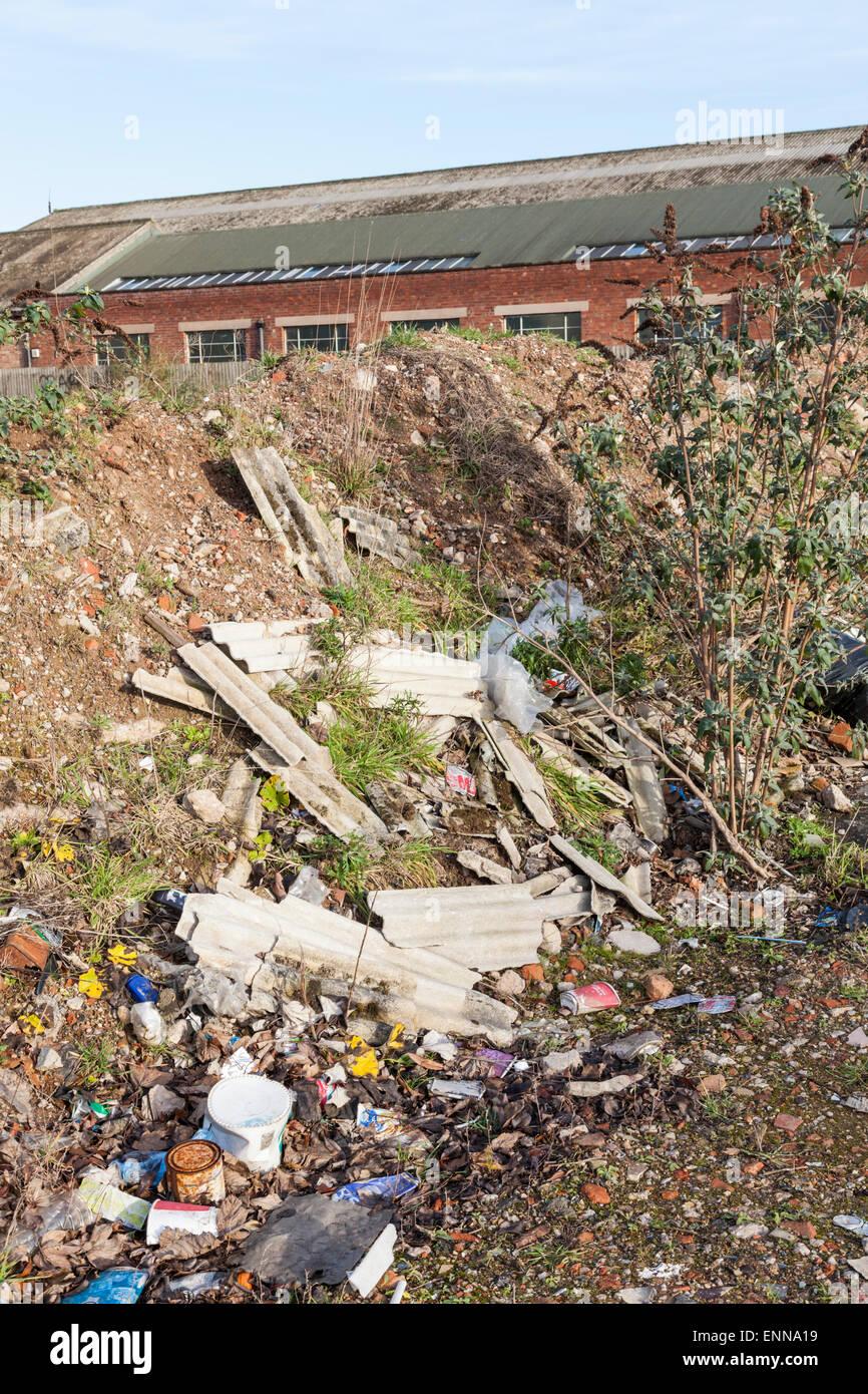 Asbestos waste dumped on the outskirts of Nottingham, England, UK - Stock Image