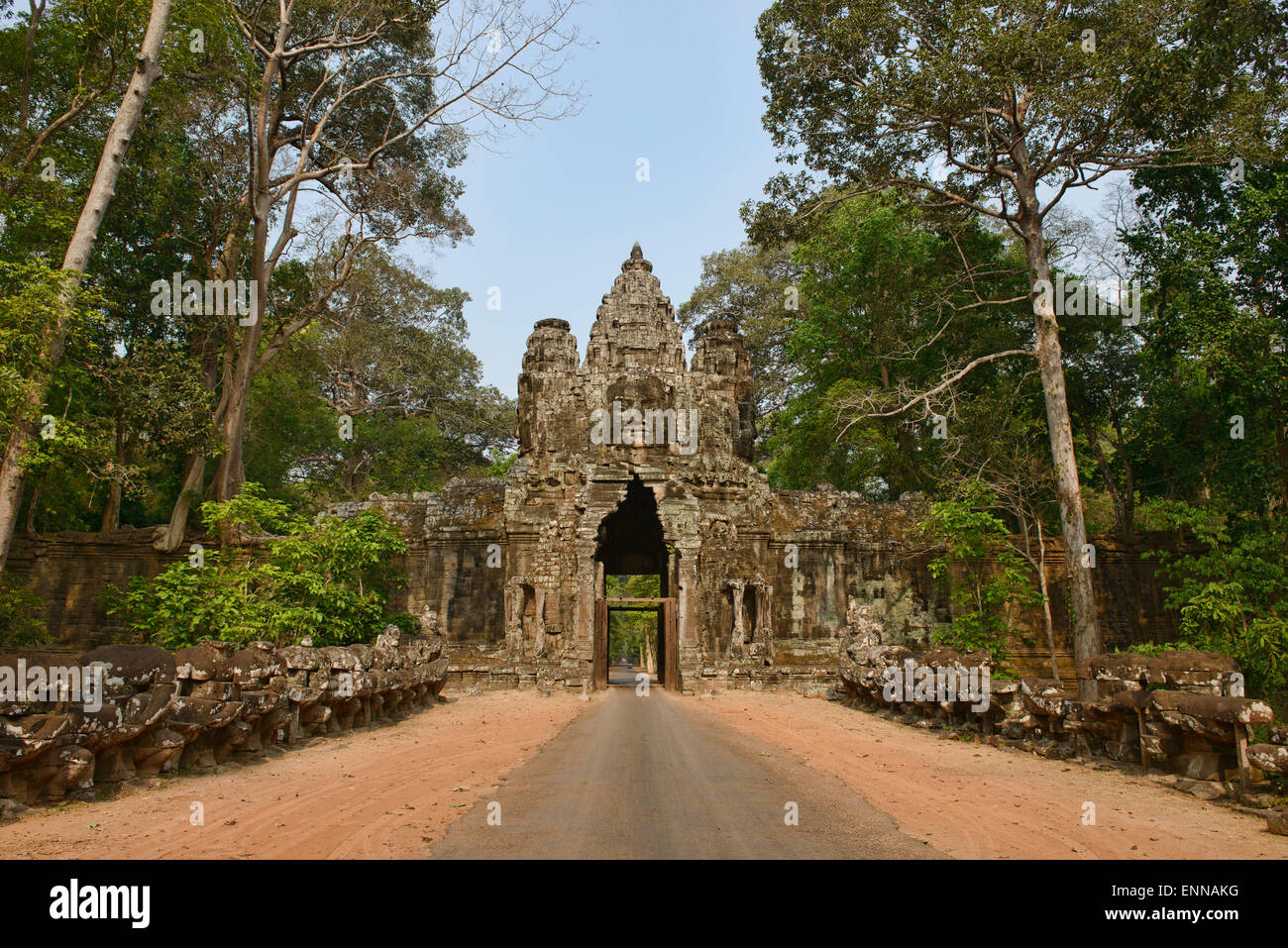 The East Gate of Angkor Thom at Angkor Wat in Siem Reap, Cambodia - Stock Image