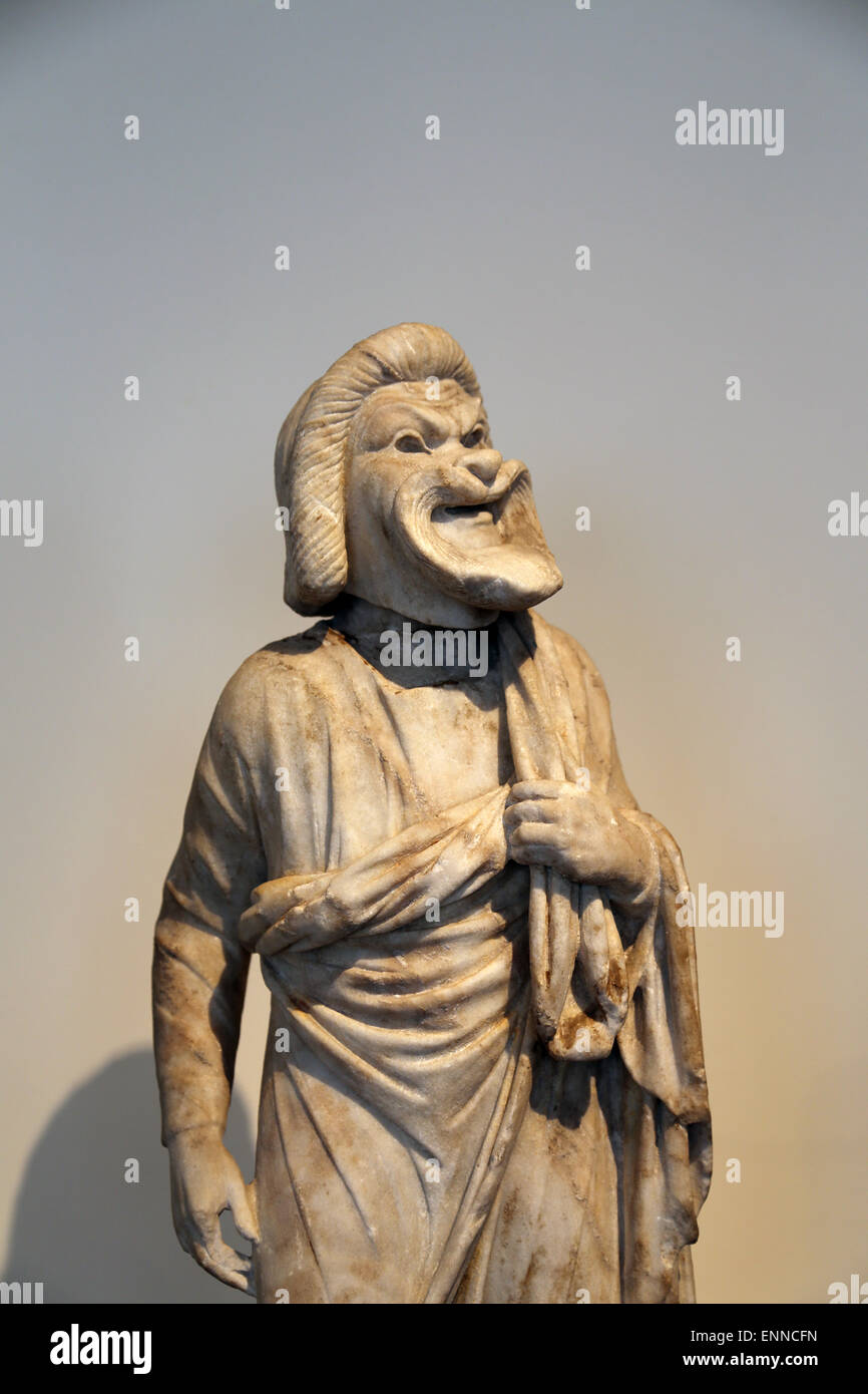 Marble statue of an actor. Roman, Imperial era. 1st-2nd century AD. Old Man of Comedy. Metropolitan Museum. NY. - Stock Image