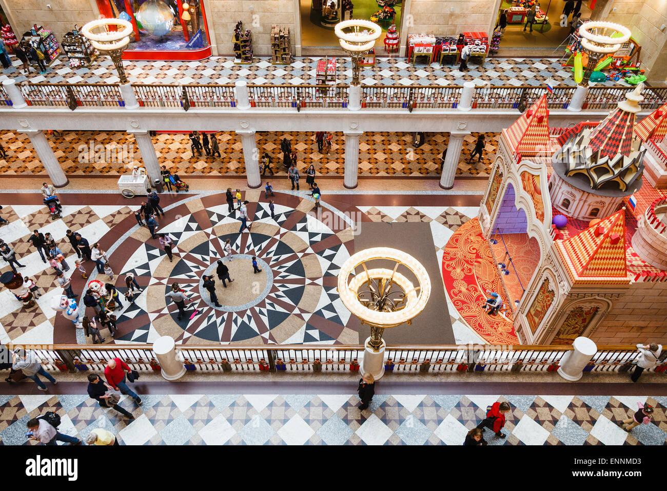 MOSCOW, RUSSIA - MAY 7, 2015: gallery of Central Children's Store on Lubyanka Square. The department store is the Stock Photo