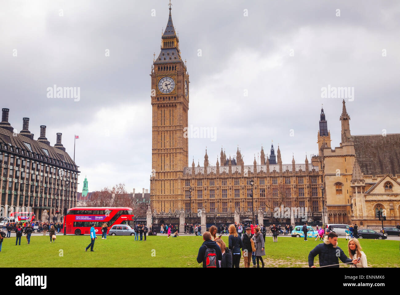 LONDON - APRIL 4: Parliament square with people in city of Westminster on April 4, 2015 in London, UK. - Stock Image