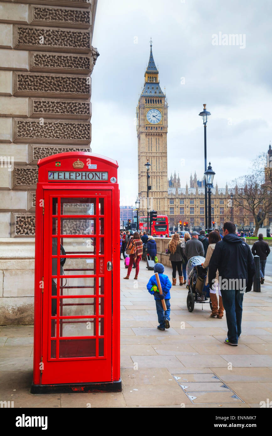 LONDON - APRIL 4: Famous red telephone booth on April 4, 2015 in London, UK. - Stock Image