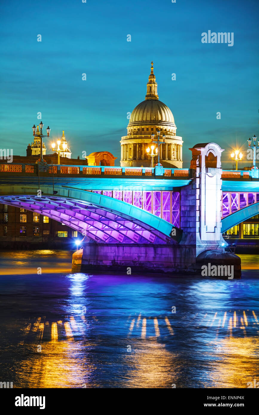 Saint Pauls cathedral in London, United Kingdom in the evening - Stock Image