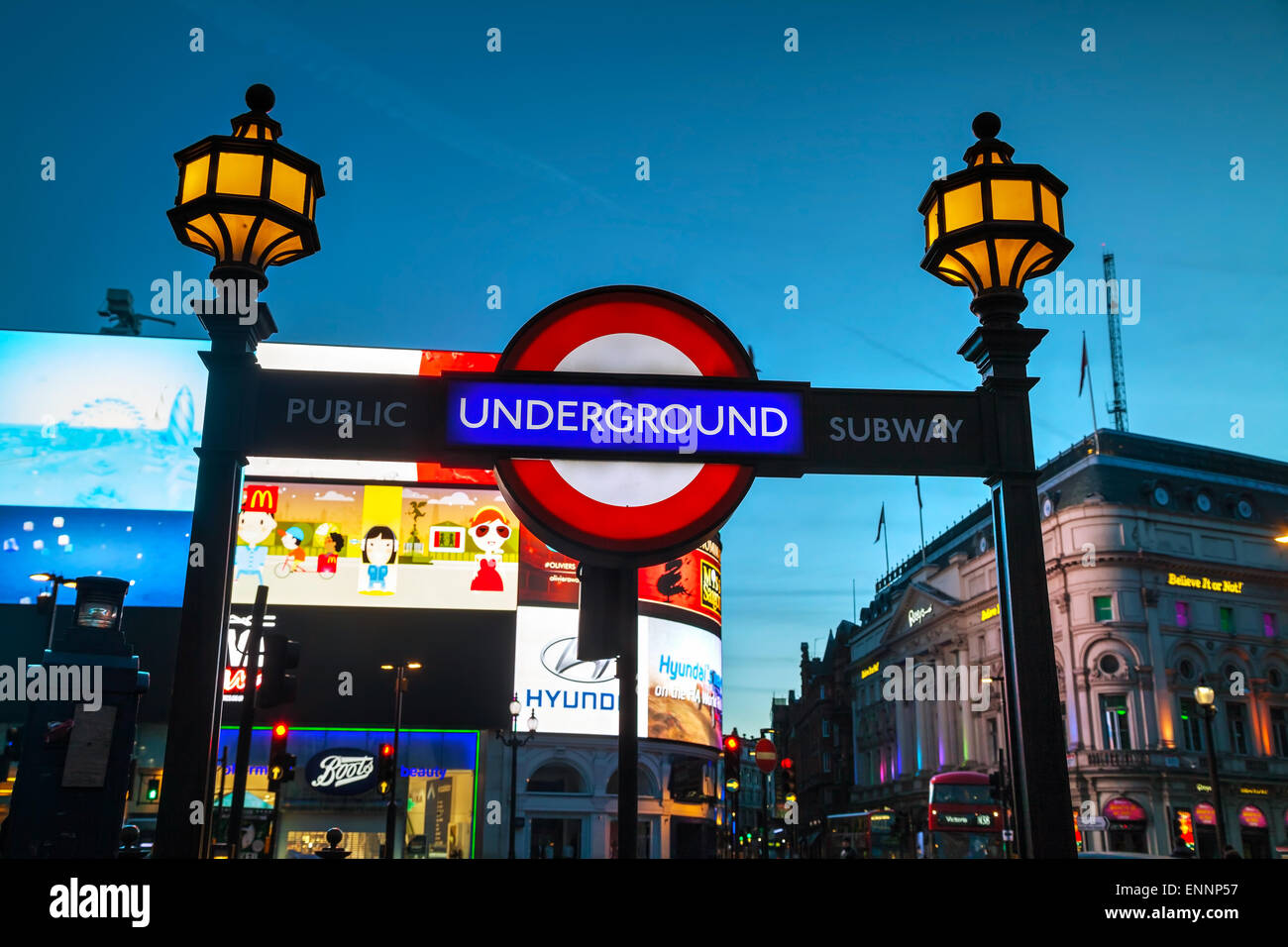 LONDON - APRIL 12: London underground sign at the Piccadilly Circus station on April 12, 2015 in London, UK. - Stock Image