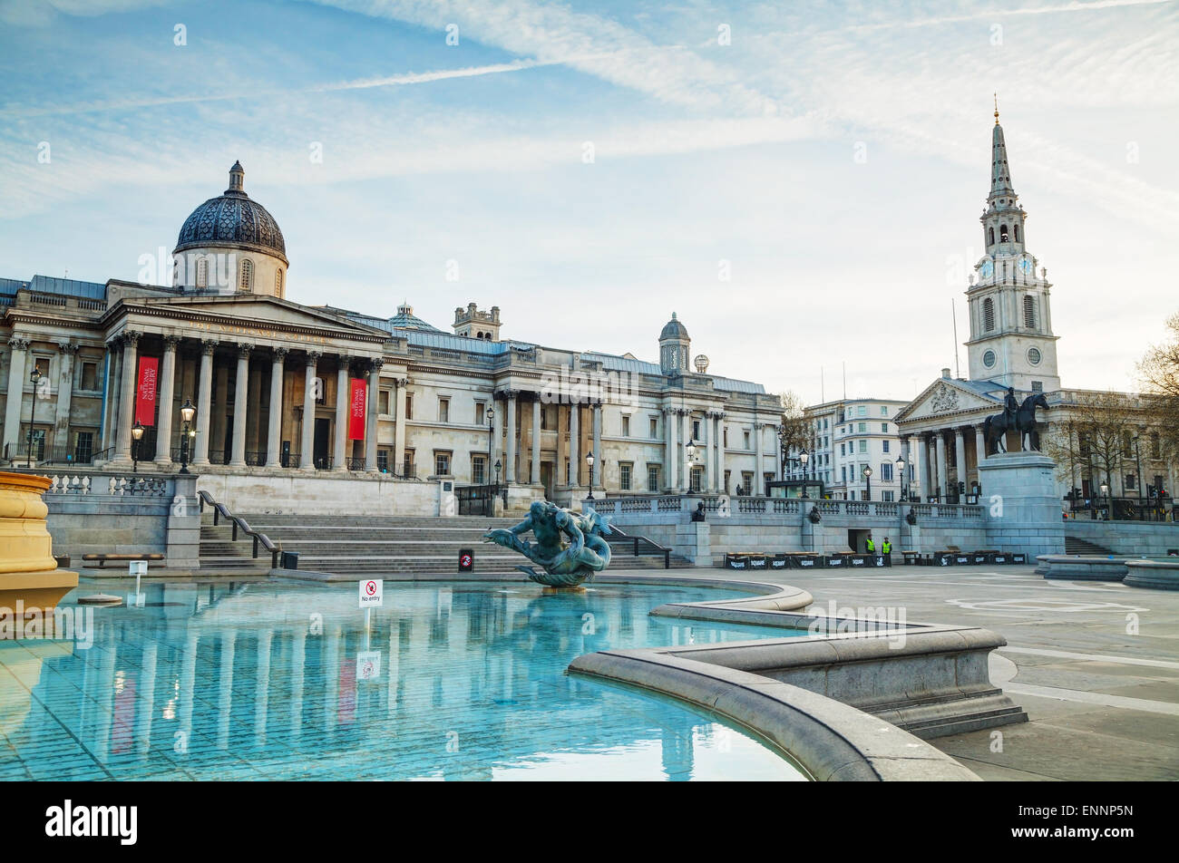 LONDON - APRIL 12: National Gallery building at Trafalgar square on April 12, 2015 in London, UK. Founded in 1824. - Stock Image