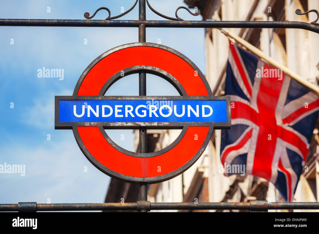 LONDON - APRIL 12: London underground sign on April 12, 2015 in London, UK. The system serves 270 stations. - Stock Image
