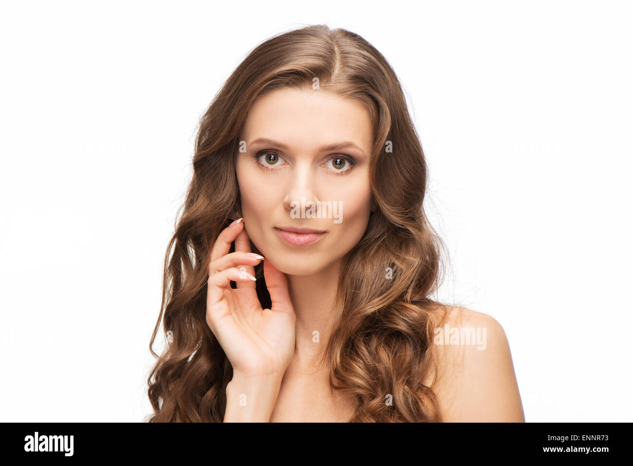 Close-up portrait of beauty woman skin care - Stock Image