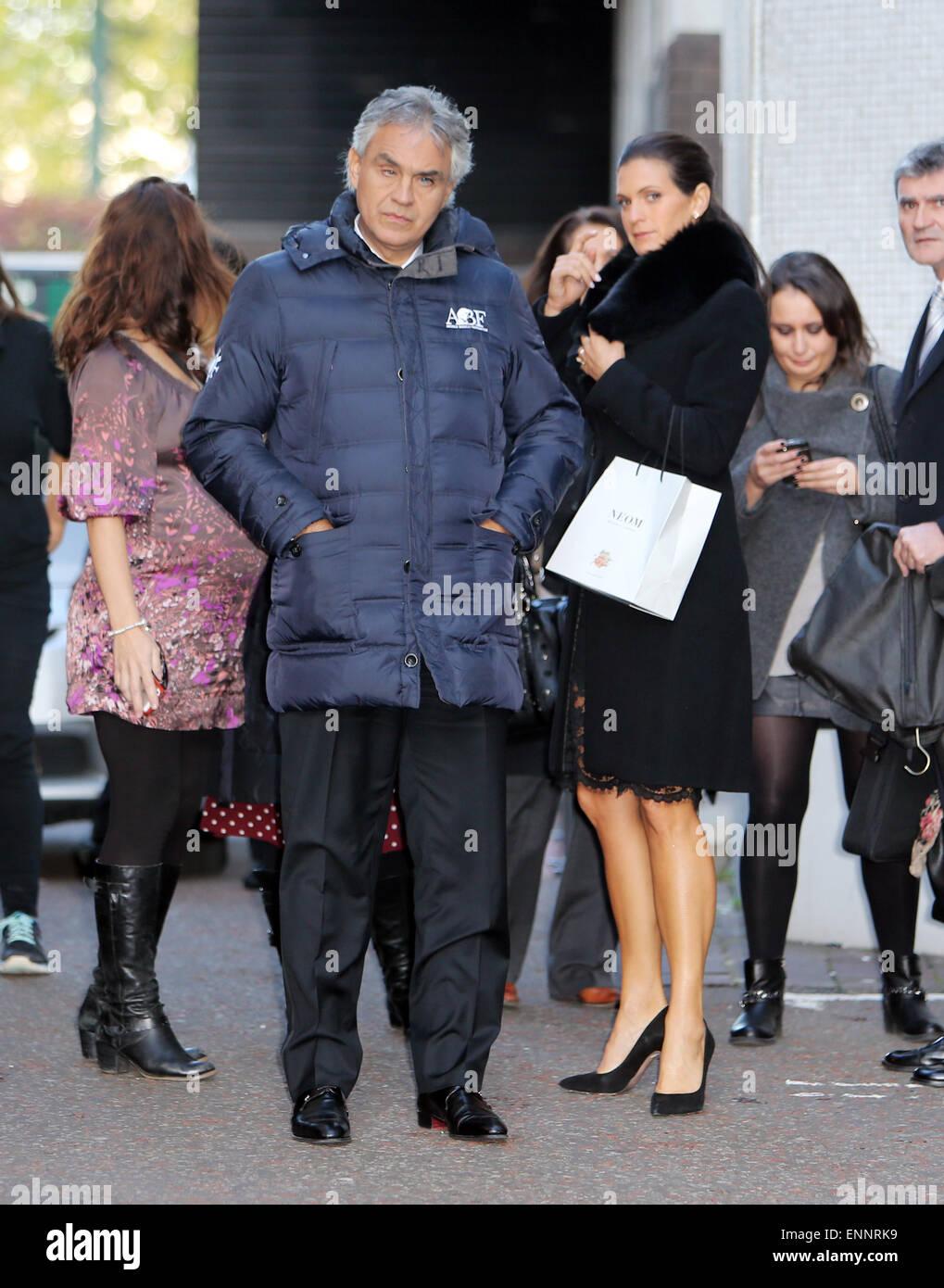 Andrea Bocelli and his wife, Veronica Berti outside the ITV ...