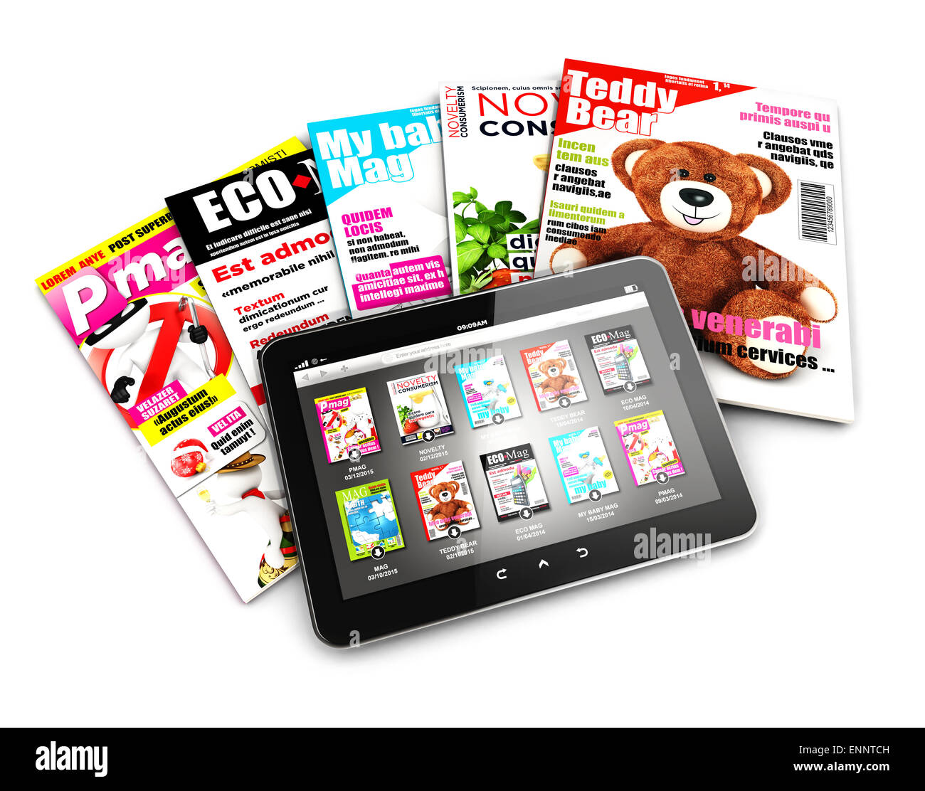 3d stack of magazines and tablet, isolated white background, 3d image Stock Photo