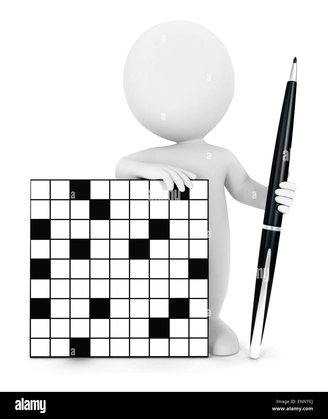 3d white people crossword, isolated white background, 3d image Stock Photo