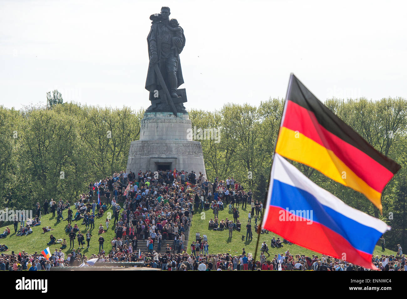 People gather at the Soviet Memorial in Treptower Park to commemorate the end of the war, Berlin, 9 May 2015. The Stock Photo