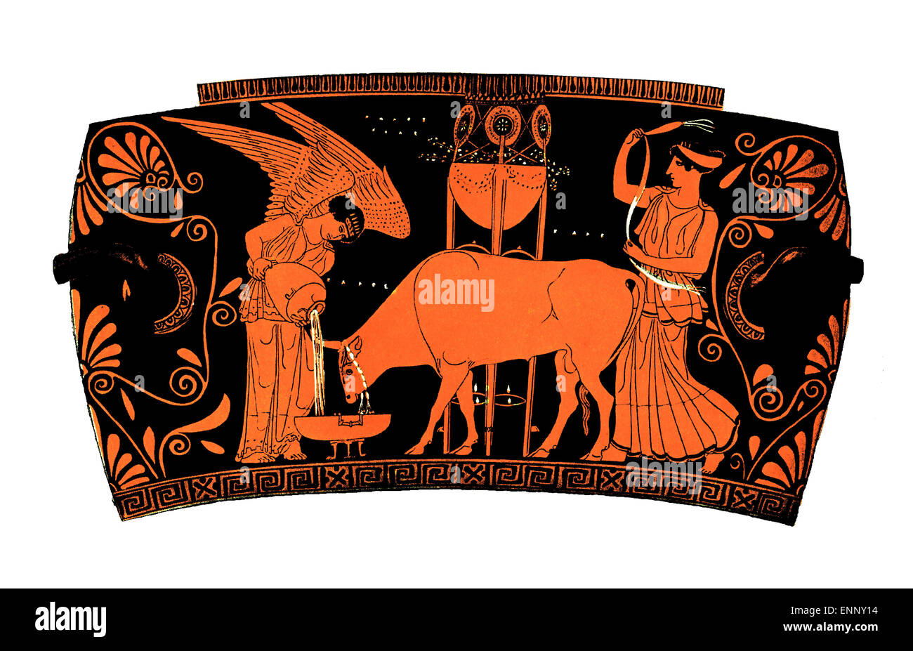 Antique greek terra-cotta vase theme: democracy. People is ironically represented by an ox, a winged goddess gives - Stock Image