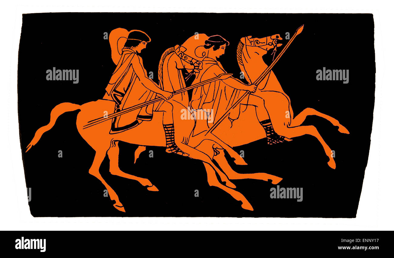Antique greek terra-cotta vase, riders on horses with spears. Isolated on white. - Stock Image