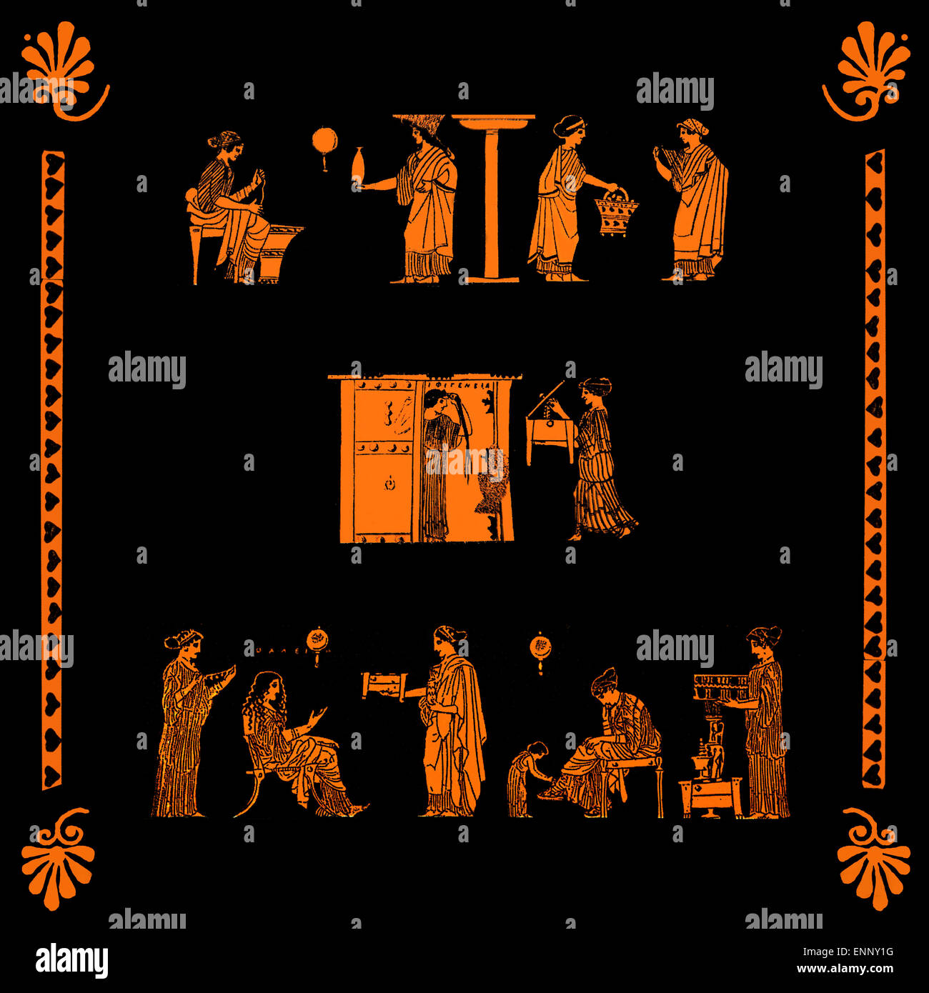 Women busy with domestic chores and activities at home, collage from antique Greek vase pictures - Stock Image