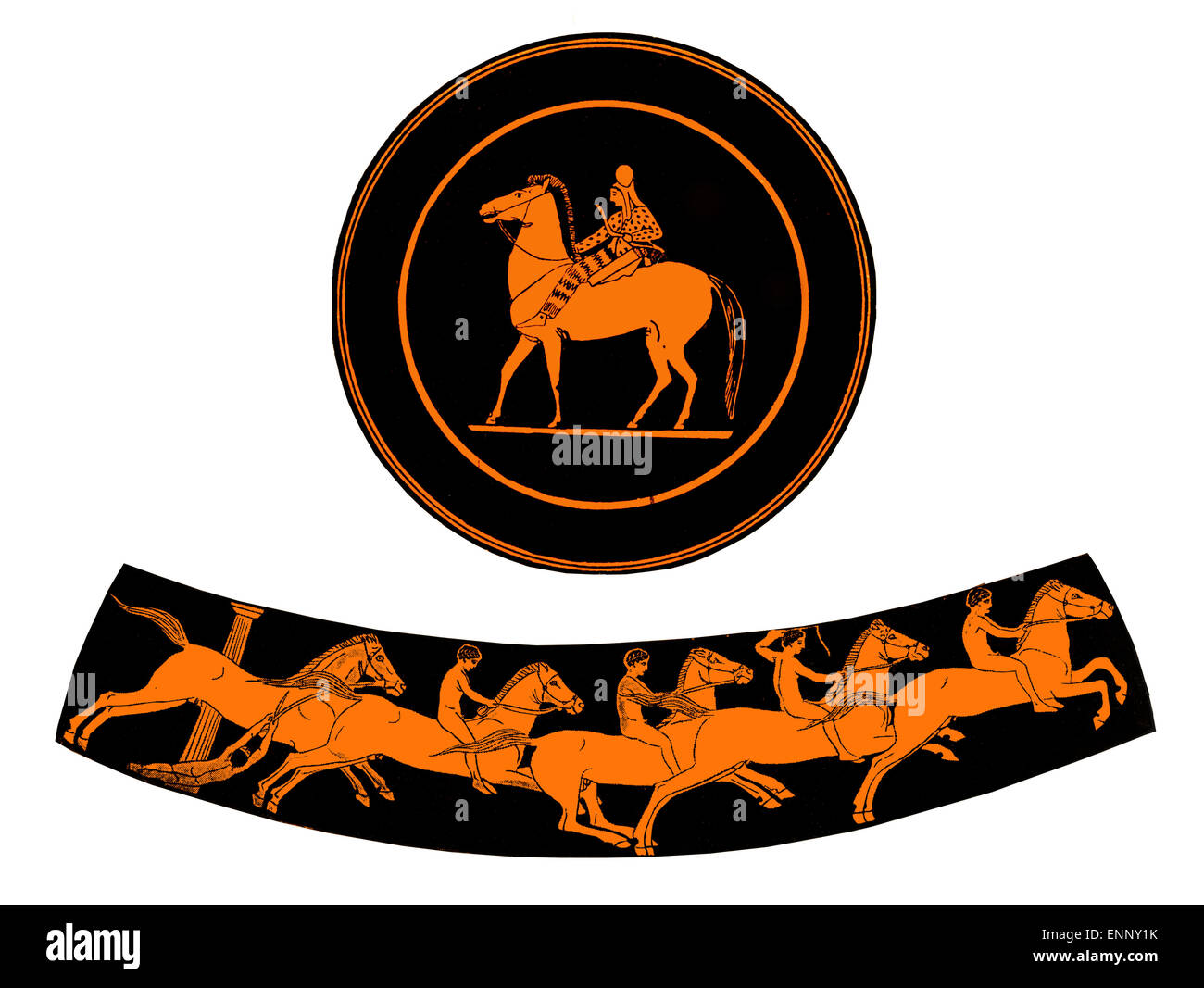 terracotta plate with rider and ancient Greek vase with boys riding horses, isolated on white - Stock Image