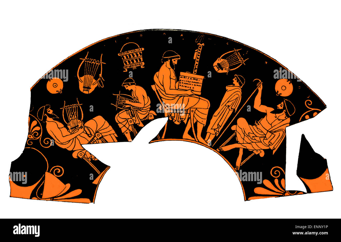 Ancient Greek vase depicting a school lesson of music - Stock Image