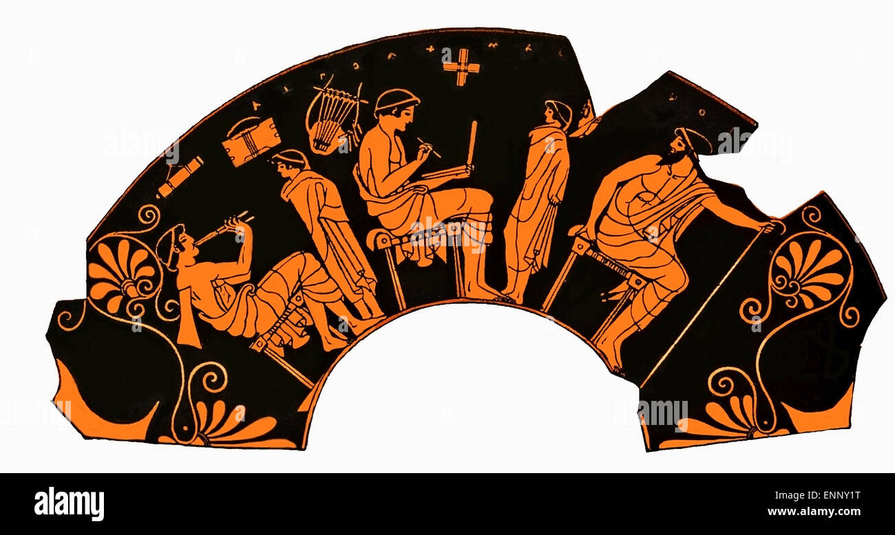 Ancient Greek vase depicting a school lesson with pupil playing flute and student writing on a tablet - Stock Image