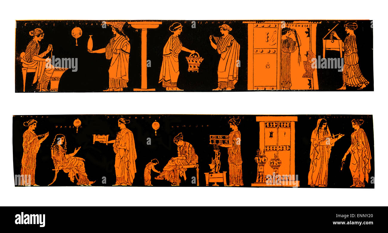 Ancient Greek vases depicting life and lifestyle of Greek women at home, isolated on white - Stock Image
