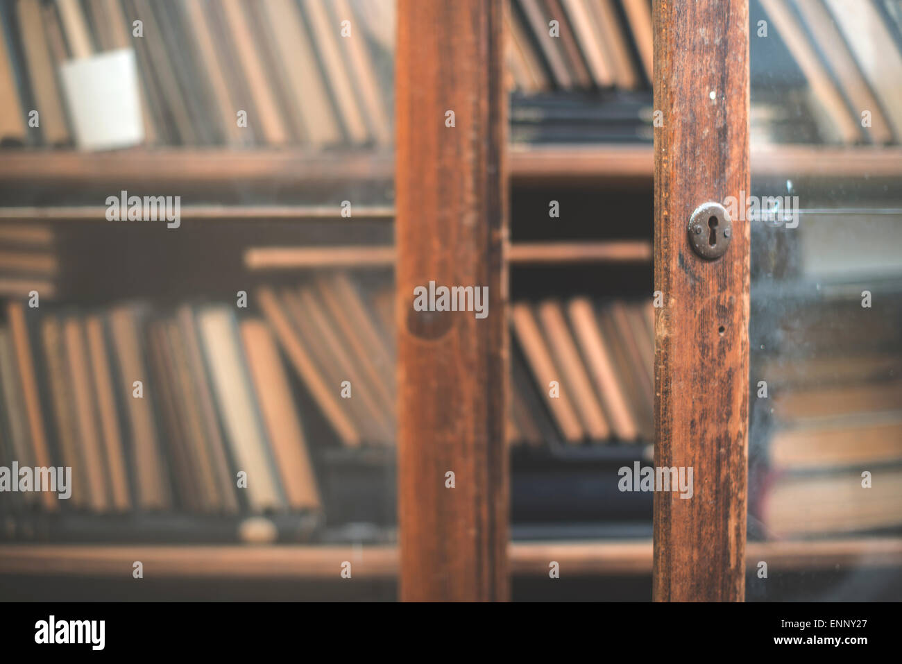 Old books in a vintage library shelves Stock Photo