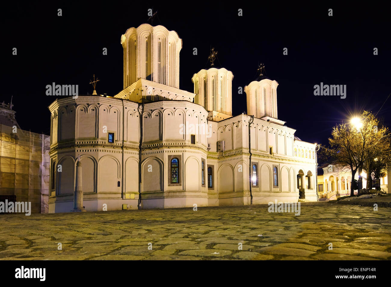The Orthodox Patriarchal cathedral at night in Bucharest, Romania. - Stock Image
