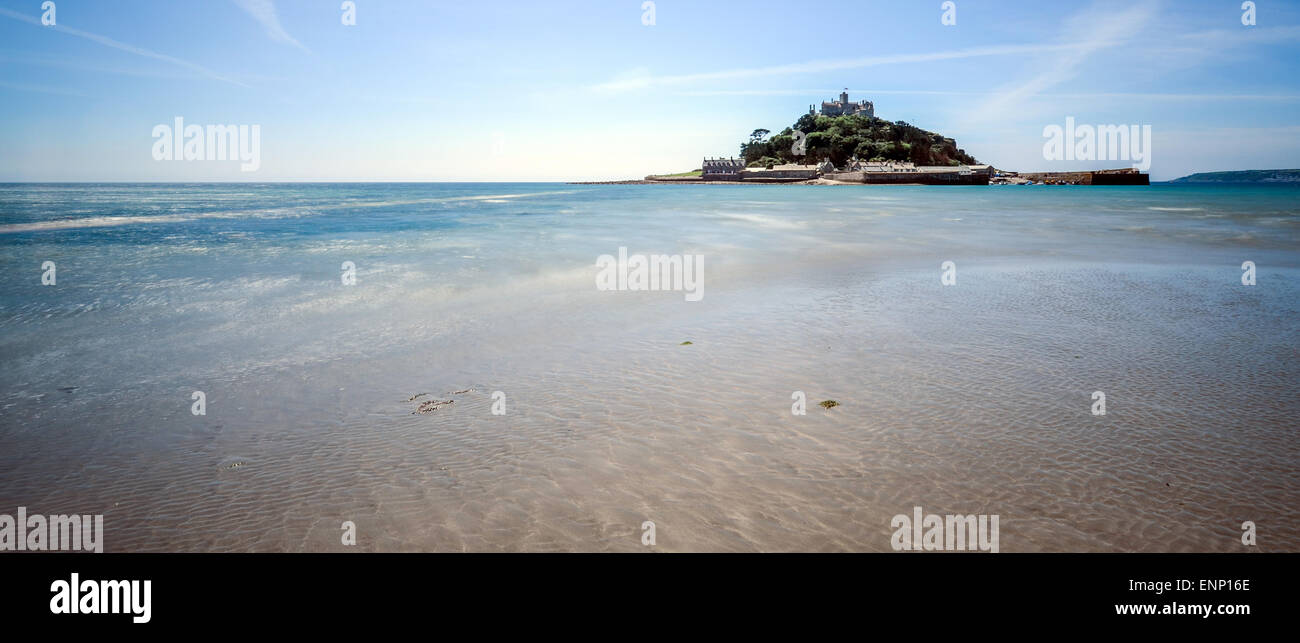 View from the beach of  causeway out to St Michael's Mount in Cornwall. It is submerged by the tide. Lovely - Stock Image