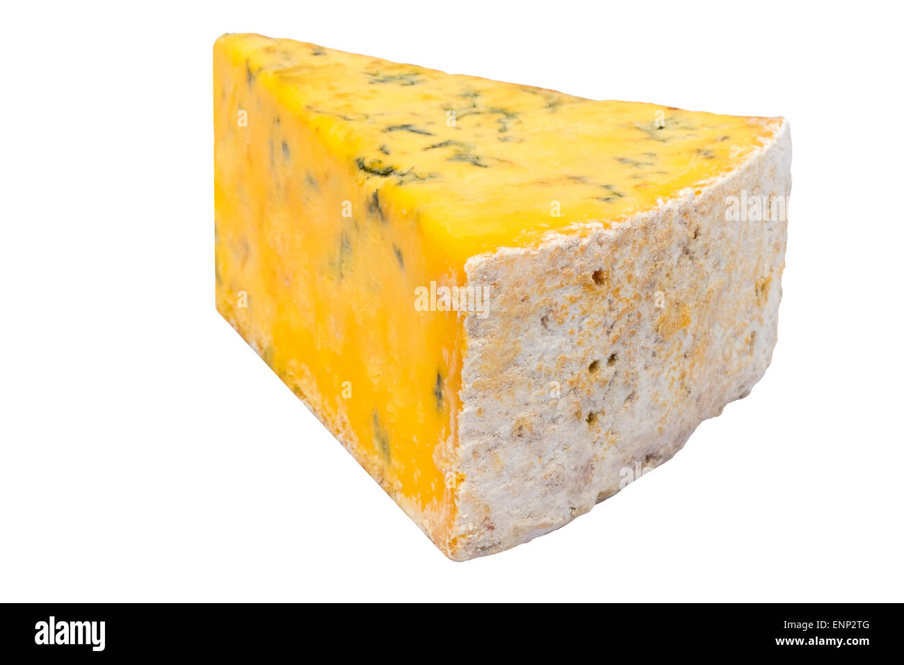 Shropshire blue cheese cut out or isolated against a white background, UK. - Stock Image