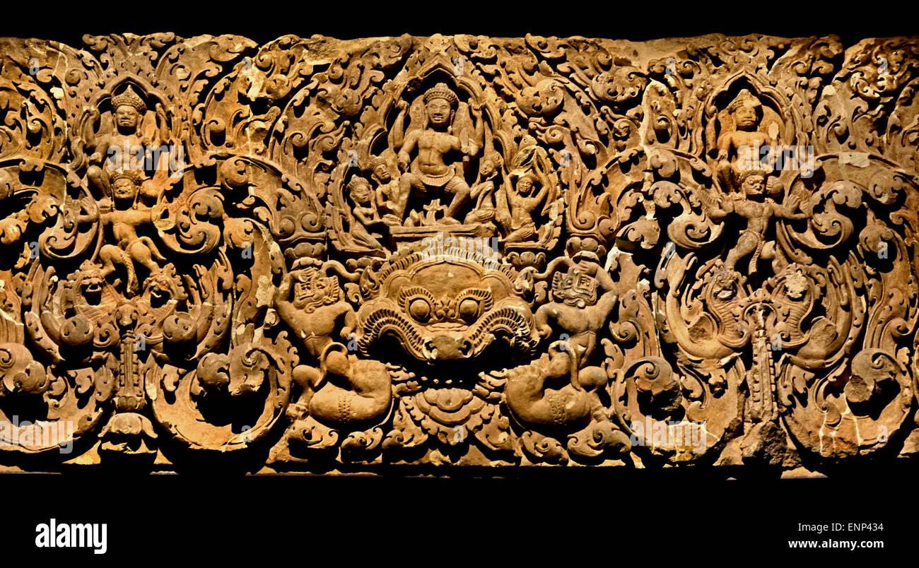 Damon Kala ( Monster Mask in the Center) lintel ) 11th Century  Angkor Wat Khmer style Cambodia Cambodian Stone - Stock Image