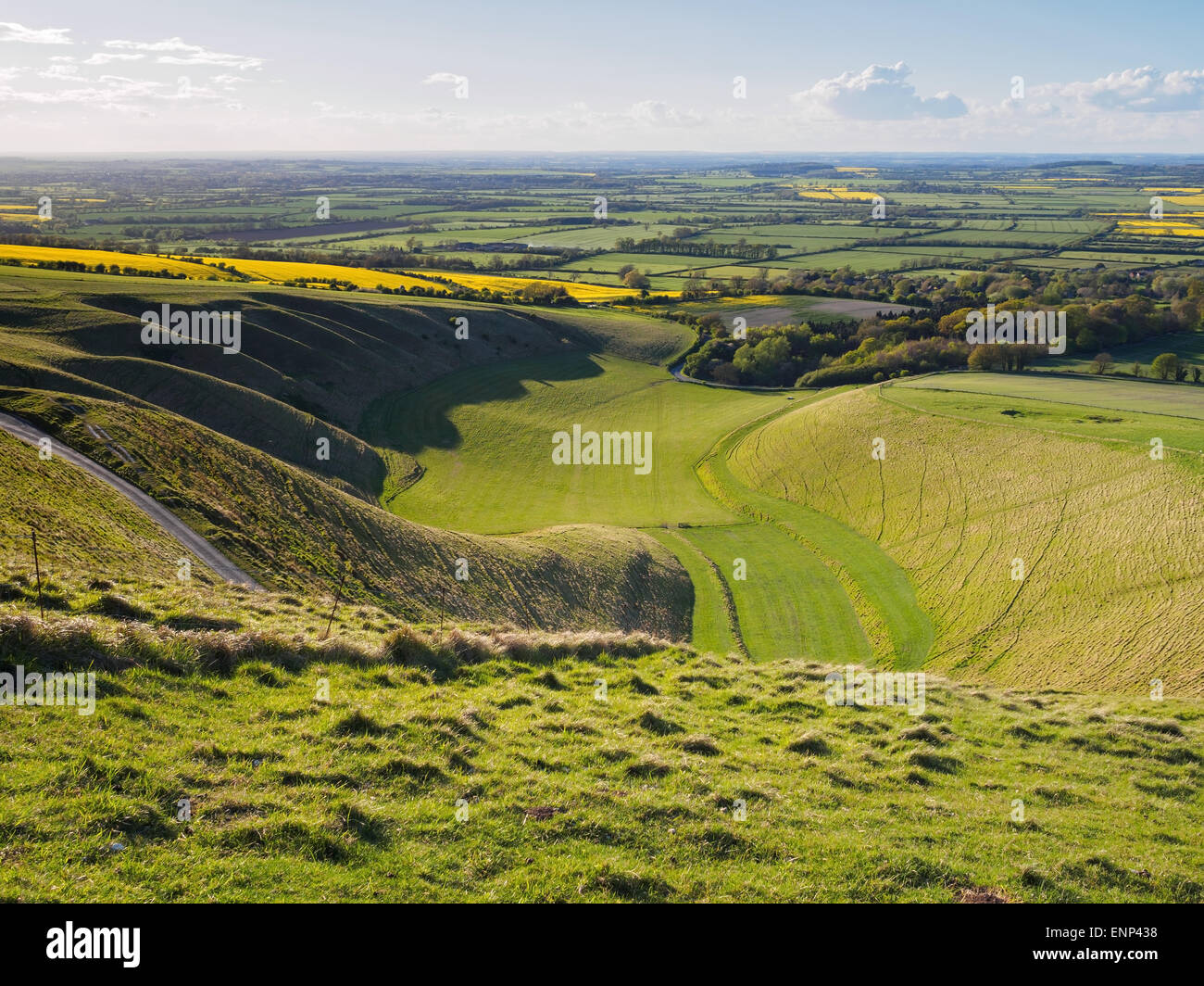 The Manger valley landform close to the Uffington White Horse, Oxfordshire. - Stock Image