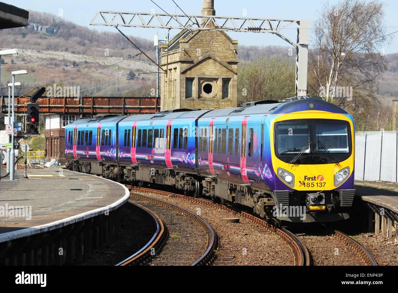 First TransPennine Express Desiro diesel multiple unit train arriving at Carnforth station, Lancashire, England. - Stock Image