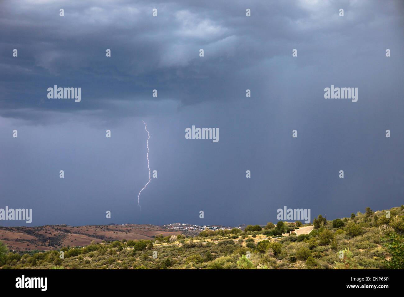 Lightning strike over Arizona - Stock Image