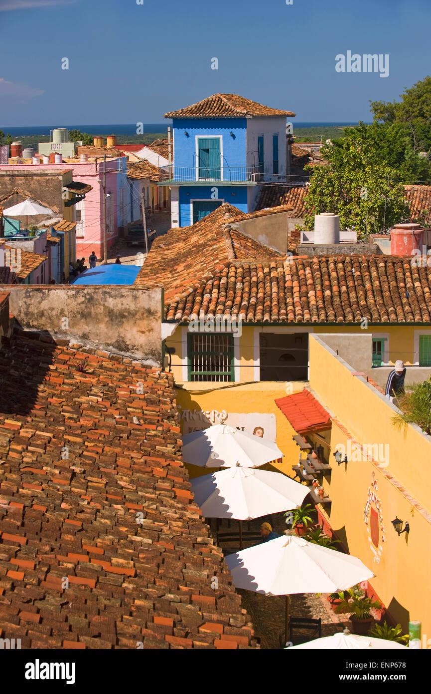 Roof top view of a restaurant in Trinidad de Cuba, Cuba Stock Photo ...