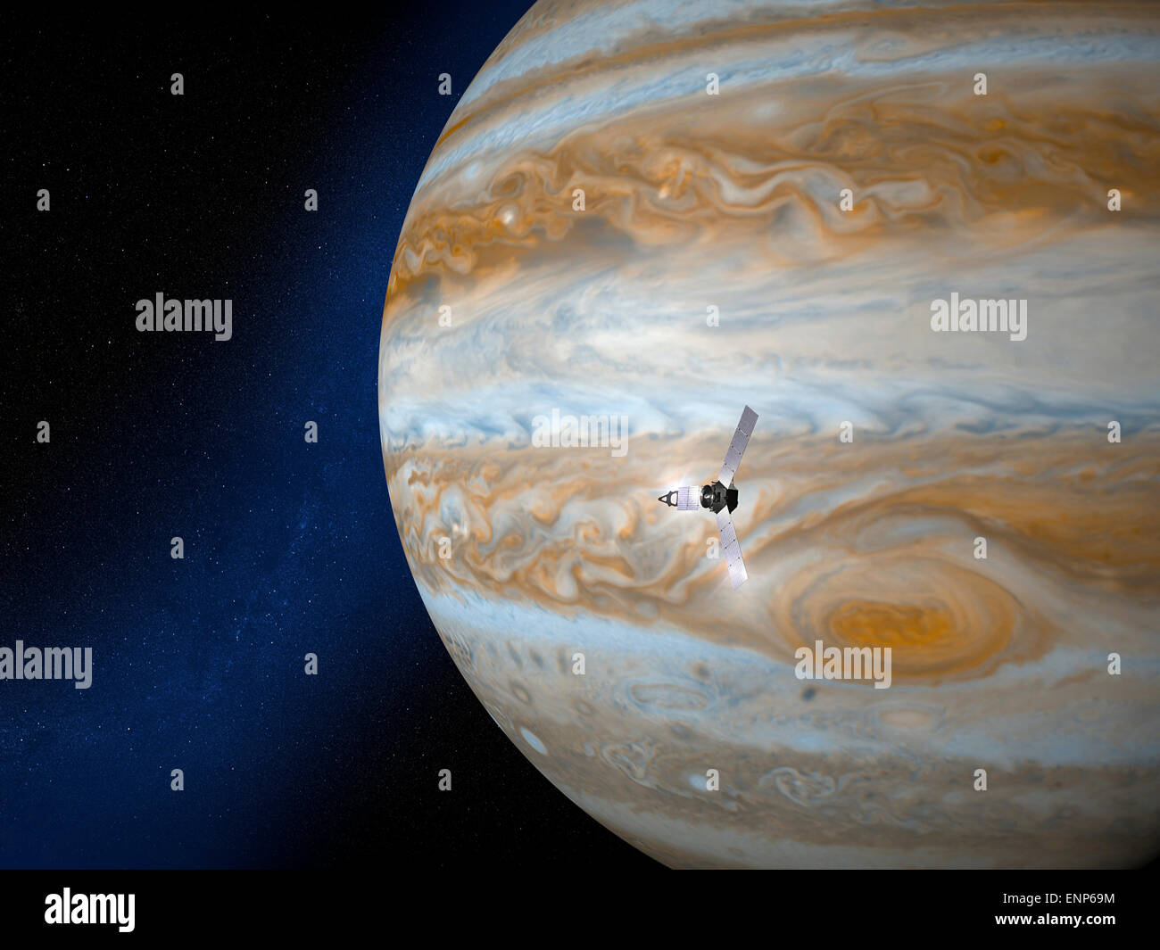 Jupiter and Juno space probe. Element of this image are furnished by NASA - Stock Image