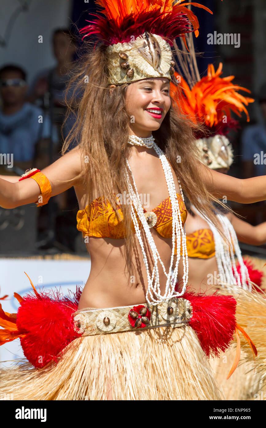 Hawaiian Hula dancer performing in a traditional costume Stock Photo