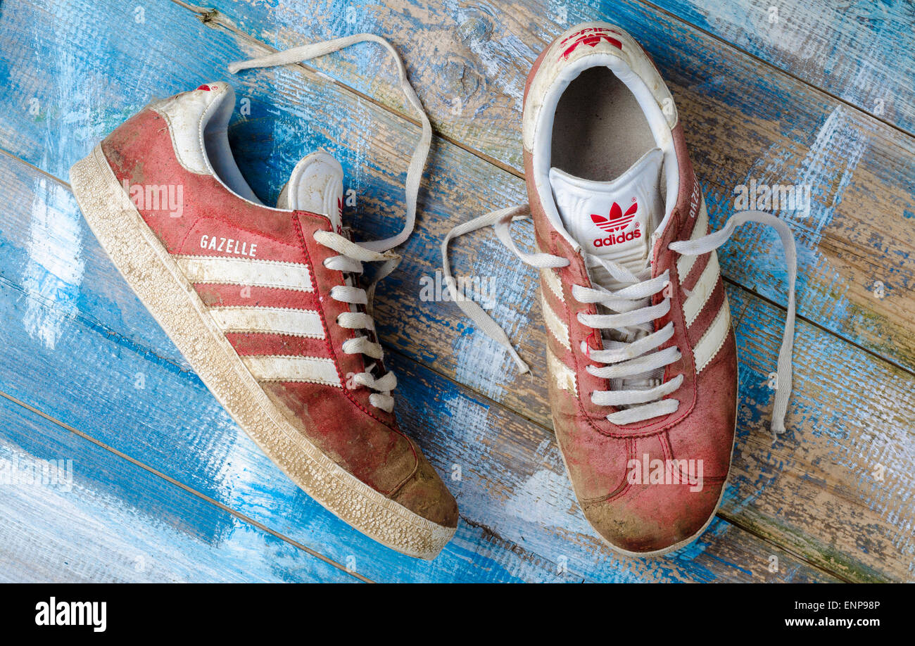 Pair of Worn Adidas Gazelle Tennis Trainers - Stock Image
