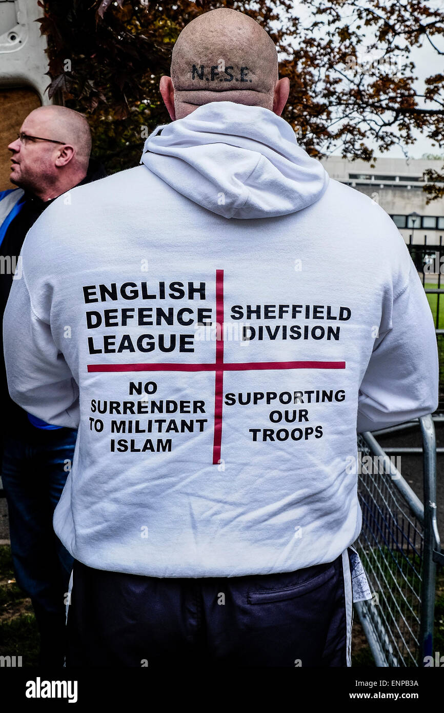Waltham Forest.  May 9th 2015. Members of the English Defence League arrive for a rally in Waltham Forest.   Photographer: - Stock Image