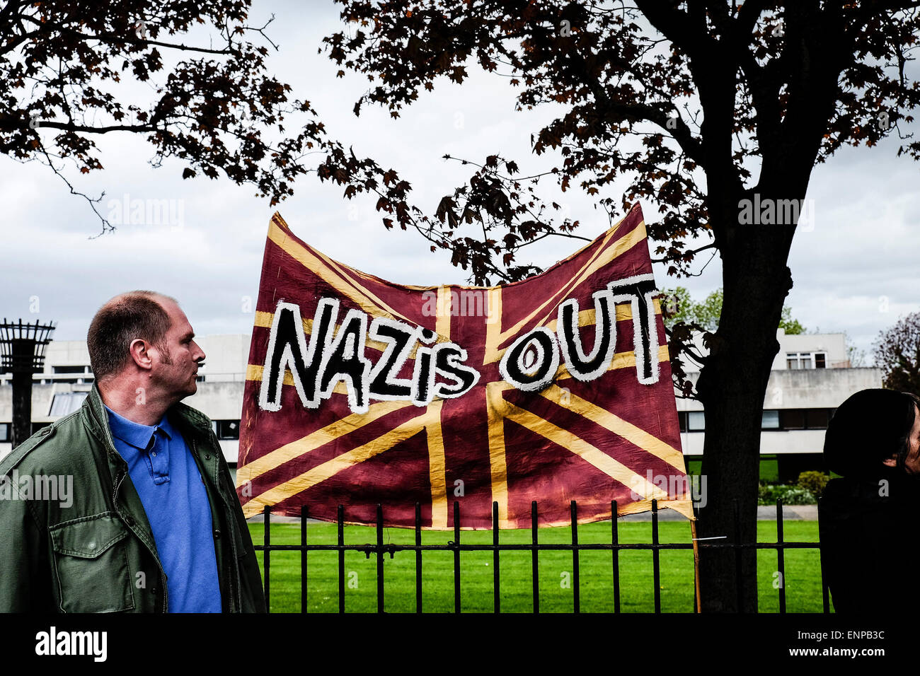 Waltham Forest.  May 9th 2015. Anti-fascists gather to protest against a march held by the English Defence League. - Stock Image