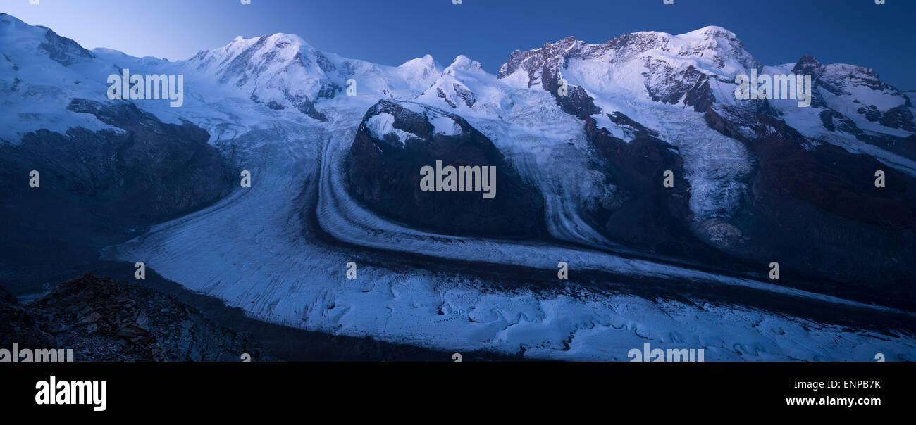 Gorner glacier, Switzerland early morning - Stock Image